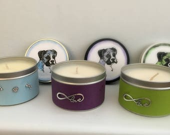 8 oz Boxer Dog Breathakingly Fragrant Hand Poured Soy Candle