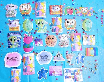 Stickers with glitter and watercolors of characters from the first season of Teddy Berry (original characters)