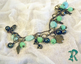 Charm Bracelet with Green Glass and Amazonite