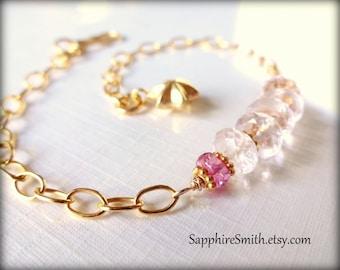 40% off PEONY Luxe Pale Pink Morganite Beryl Gemstones, Pink Sapphire & Bali Gold Vermeil Bracelet