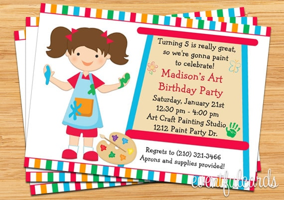 Art painting birthday party invitation for kids printable for Arts and crafts birthday party