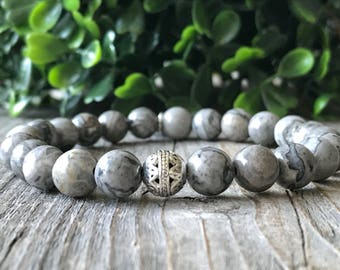 Gemstone bracelet, men bracelet, surf bracelet, beaded bracelet, gray bracelet men , men gift, Handmade bracelet, earthy stretch bracelet