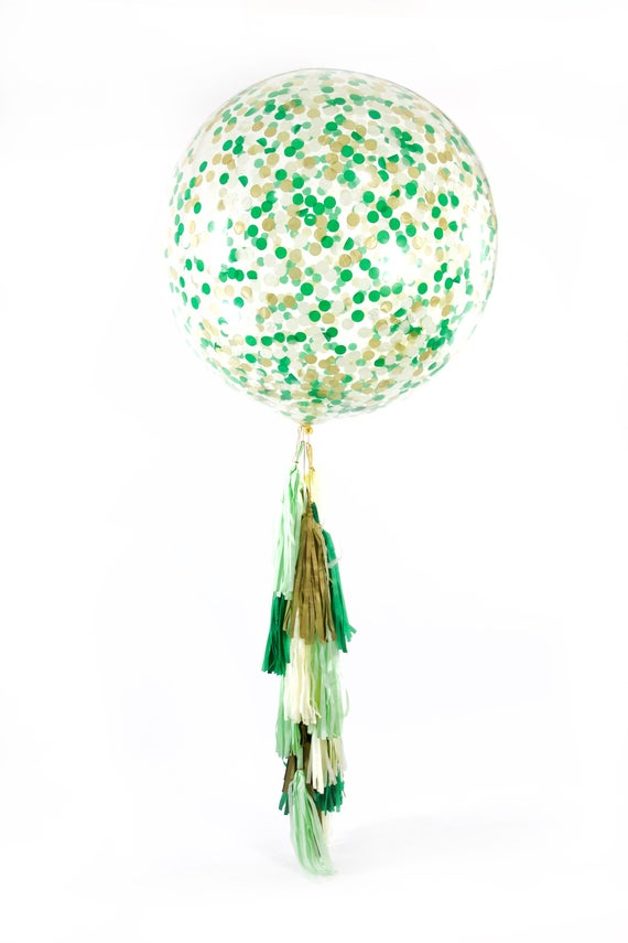 "36"" Forest Fancy Balloon, Giant Clear Balloon, Confetti Balloon, Tassel Balloon, First Birthday Wedding Bridal Shower Baby Shower Woodland"