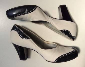 1940s black & white spectator heels