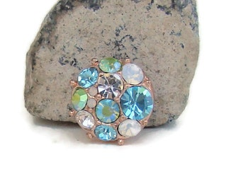 MINI 12 mm, rose tone and aqua rhinestone, noosa style snap charm button for interchangeable snap jewelry brands, like ginger snaps