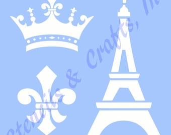 """EIFFEL TOWER STENCIL royal crown fleur de lis paris france stencils template templates craft scrapbook paint new 5"""" x 6"""""""