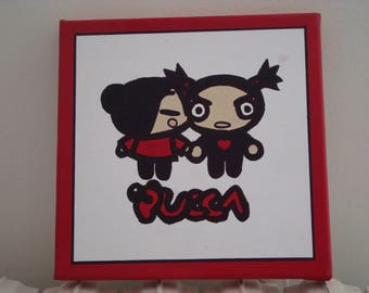 Pucca in red and black on canvas frame