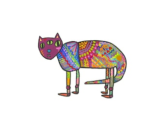 """Bright and Colorful Patterned Monster Creature High Quality 8"""" x 10"""" Art Print"""