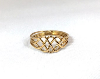 Puzzle Ring Sterling Silver 14k Gold Plated Slim Style