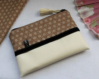 Zippered coin purse / wrislet pouch card / case - Asanoha brown beige