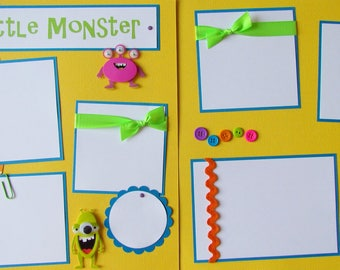 Premade 12x12 Scrapbook Pages -- MY LITTLE MONSTER -- layout for kids boy girl baby - trouble, mischief, cute, funny, scrapbooking, silly