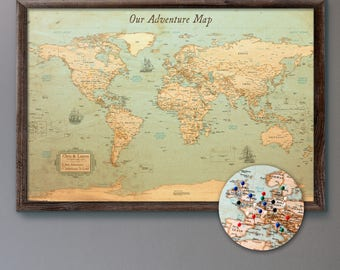 world map push pin rustic style 13x19 personalized travel map mounted on 316 foam board