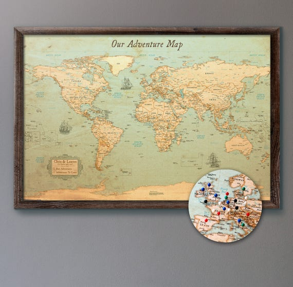 World map push pin rustic style 13x19 personalized like this item gumiabroncs Images