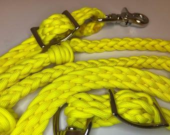 neon Yellow reins, yellow barrel reins, paracord barrel reins , paracord rein, braided rein, custom rein, barrel racing, horse tack