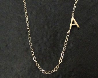 Tiny Sideways Initial Necklace - Single or Multiple Initials 14K SOLID GOLD, Letter Necklace As Seen on Audrina Patridge And Mila Kunis