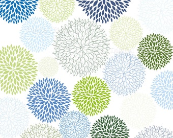 Blue and Green Blossoms Clip Art Set - digital blooms clipart - instant download