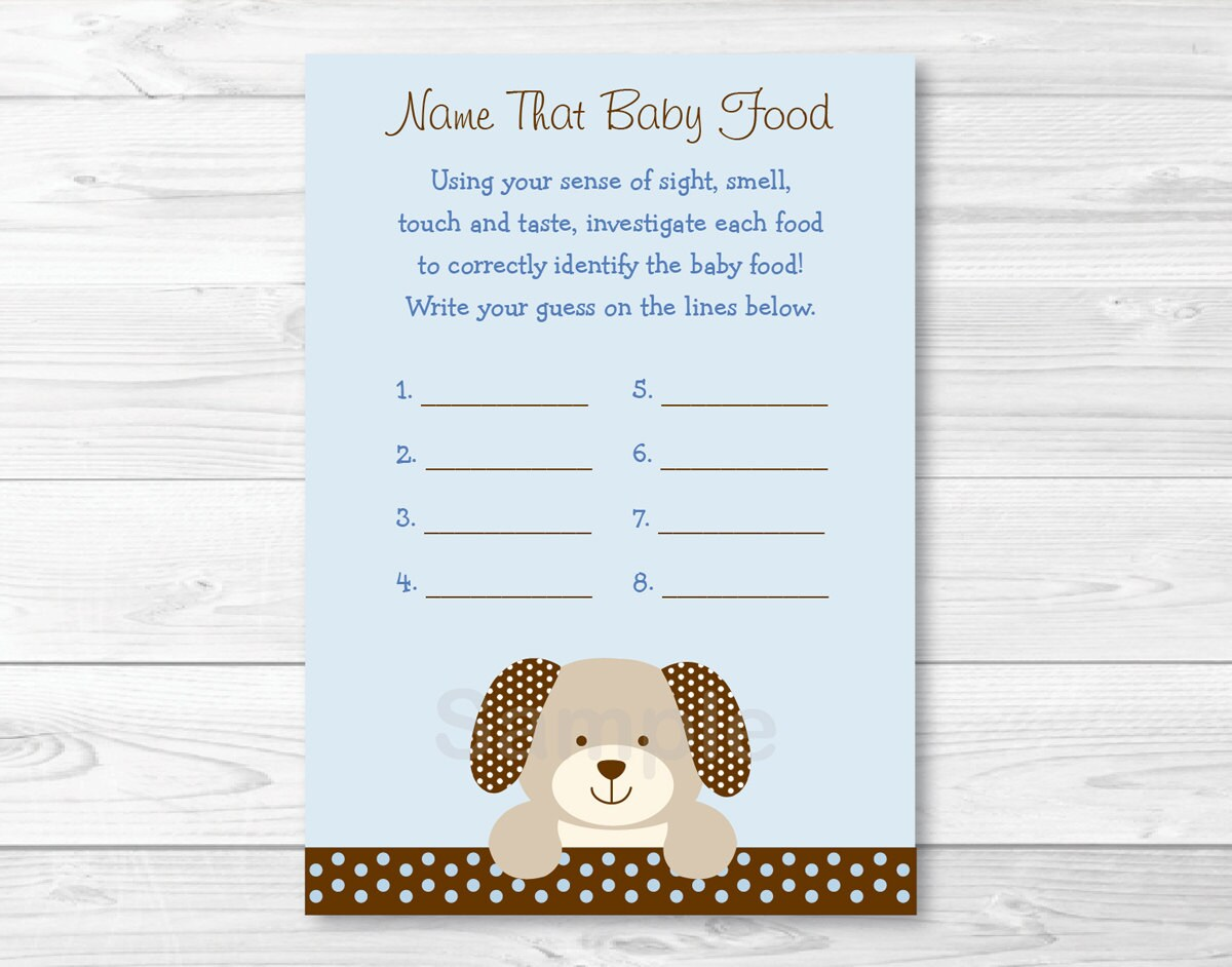 Cute Puppy Name That Baby Food Game / Puppy Baby Shower / Baby