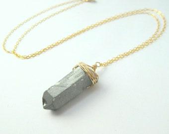 Silver Titanium Quartz Wire Wrapped Pendant Gold Filled Necklace - 18 Inches