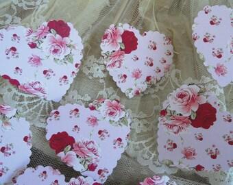 Floral in Pinks Heart Die cuts Set of 10