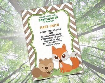 WOODLAND Baby Shower Invitation Template