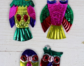 OWL- Handmade Mexican Tin Ornaments (Set of 3)- Home Decor- Holiday- Cinco De Mayo- Christmas Tree- Fiesta