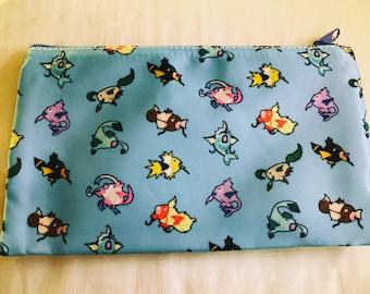 "Eeveelution Magikarp Cosmetic Bag 7"" x 4""   Pokemon   Eevee Flareon Jolteon Vaporeon Umbreon Espeon Leafeon Glaceon Sylveon   Zipper Pouch"