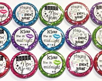 """New Year's, Kiss, 1"""", Button, New Year's Button, New Years Pin, New Years Party, New Years Party Favor, New Years Theme, New Years Decor"""