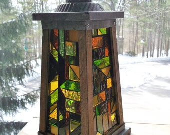 Rustic Stained Glass Mosaic Candle Lantern Light