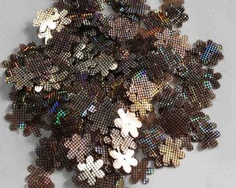 75 Silver dots on Black Color /Flower Sequins /KBBF676