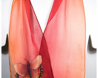 """Butterfly silk scarf. Hand painted silk scarf. 8x52""""~Painted silk scarf~Butterfly scarf~Orange silk scarf~Silk scarf handpaint~Silk painting"""