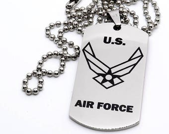 Dog Tag, Military Style Dog Tag, Stainless Steel Dog Tag, Jewelry Dog Tag, Personalized Dog Tag, Military Style Jewelry, Air Force