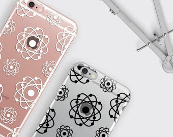 Atom iPhone 8 Case, Atomic Galaxy S8 Case - Atoms Print iPhone 7 Plus Case Science LG G5 Case Nuclear iPhone 6S Case Atomic Energy Gift