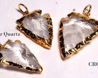 Gold Plated Quartz Arrowhead, Crystal Arrowhead, Quartz Crystal (VG8890)