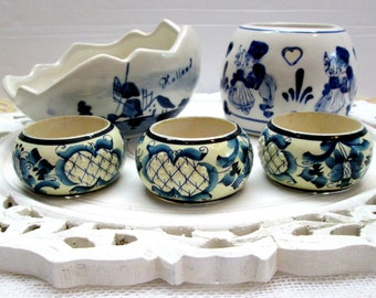 FIVE pieces of Delft handpainted in Holland, 3 napkin rings, Dutch bowls, blue and white accessories, Delft accessories, Dutch decor