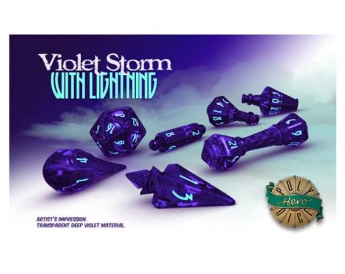 Wizardstone Violet Lightning Storm Dice Set (7) - 2106 - PolyHero Dice
