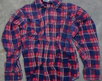 Oversized Pink + Blue Vintage Flannel Soft Grunge Size XXL | Mens Womens Unisex | Pastel Colors Work Shirt | 7V