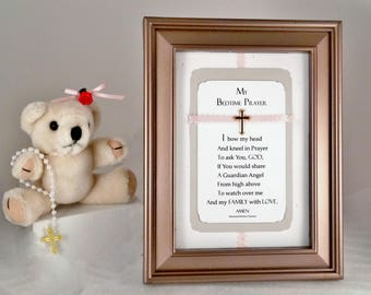 CHRISTIAN PRAYER GIFT For Girl Personalized Prayer Wall Print Christian Cross Child's Prayer Gift Pink Room Decor Keepsake Gift RosaLinda