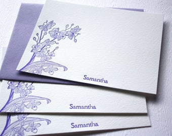 Orchids Personalized Letterpress Stationery Purple
