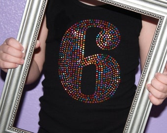 BIRTHDAY NUMBER rhinestud tee by Daisy Creek Designs