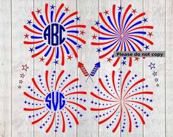 SVG DXF File for Fireworks Patriotic Display