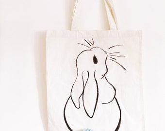 Bunny rabbit - cotton tote bag