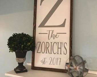 Personalized last name and established date wood sign with frame