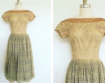 AUDREY • 1950s Suzy Perette Gold & Sage Green dress • XS/Small (0-2)