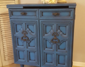 Sold!! Vintage Bar Cabinet, Re-purposed Bar Cart, Hand Painted and Distressed in Layers of Vibrant Blues Over Black