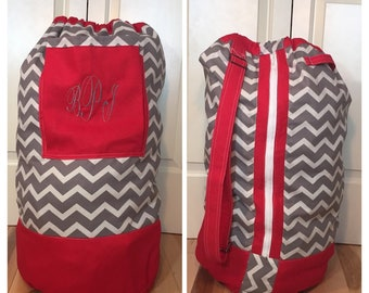 Monogrammed Laundry Duffel Bag, Red, Gray & White Chevron, Laundry Bag, Laundry Bag for College, Hanging Laundry Bag, Laundry Hamper