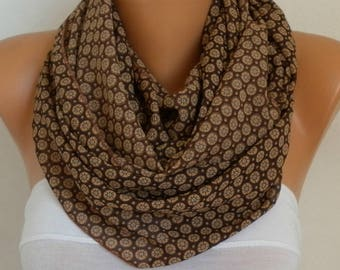 Mother's gift,Brown Chiffon  Infinity Scarf,spring summer Scarf,Cowl,Circle Scarf Loop Scarf  Gift Ideas For Her,Women Fashion Accessories