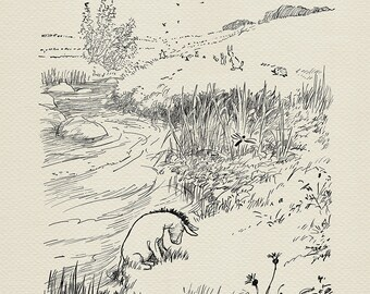 My tail's getting cold - Eeyore - Winnie the Pooh classic vintage style poster book illustration print #31