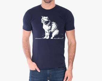 Cat shirt / Abby on Mens American Apparel tshirt / mens graphic tee, dad t-shirt / animal rescue / made in the usa / Abby Cat / RCTees