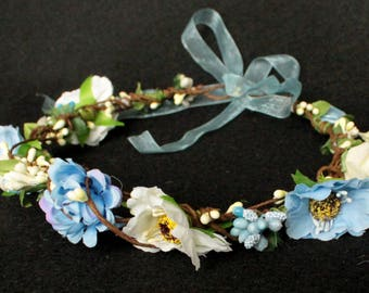 White ivory blue bridal Boho wedding wreath flower crown flower halo baby wreath newborn headband headpiece roses rustic woodland wedding