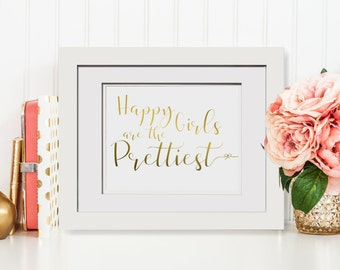 Happy Girls Are The Prettiest|Audrey Hepburn Quote|Christmas Gift For Her|Real Gold Foil Print|Foil Wedding Gift For Girlfriend|Framed Print